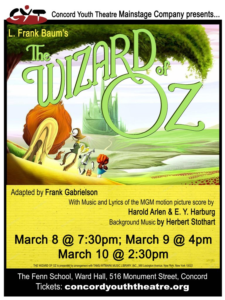 Wizard of Oz Performs at Fenn School, Ward Hall March 8-10.
