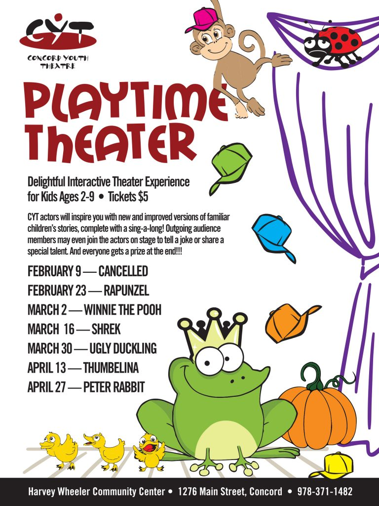 Playtime Theater moves to the Harvey Wheeler Community Center on February 23rd.