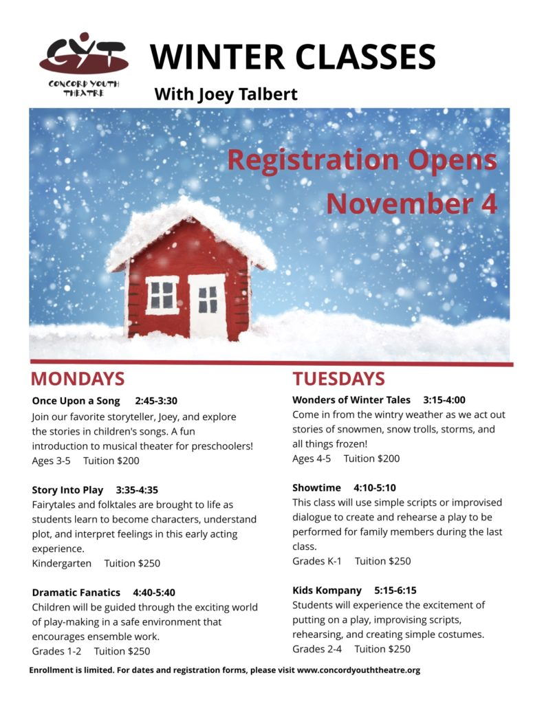 Registration for Winter Theater Arts Classes is Now Open!