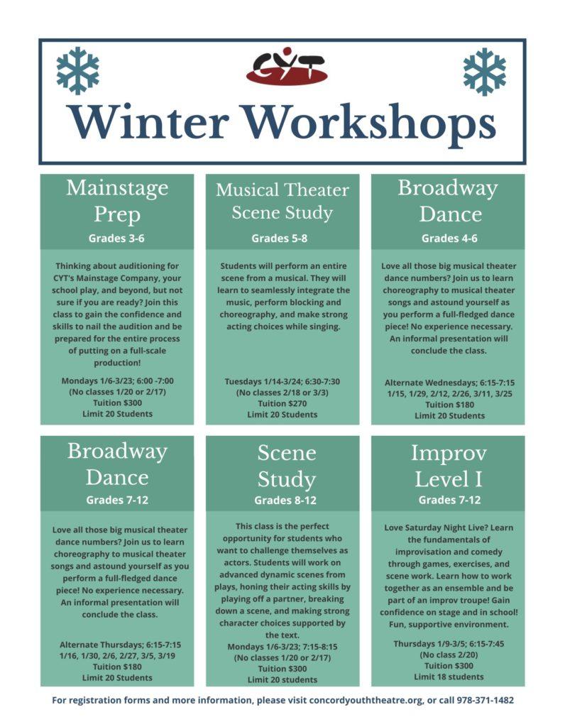 Winter Workshops for Grades 3-12