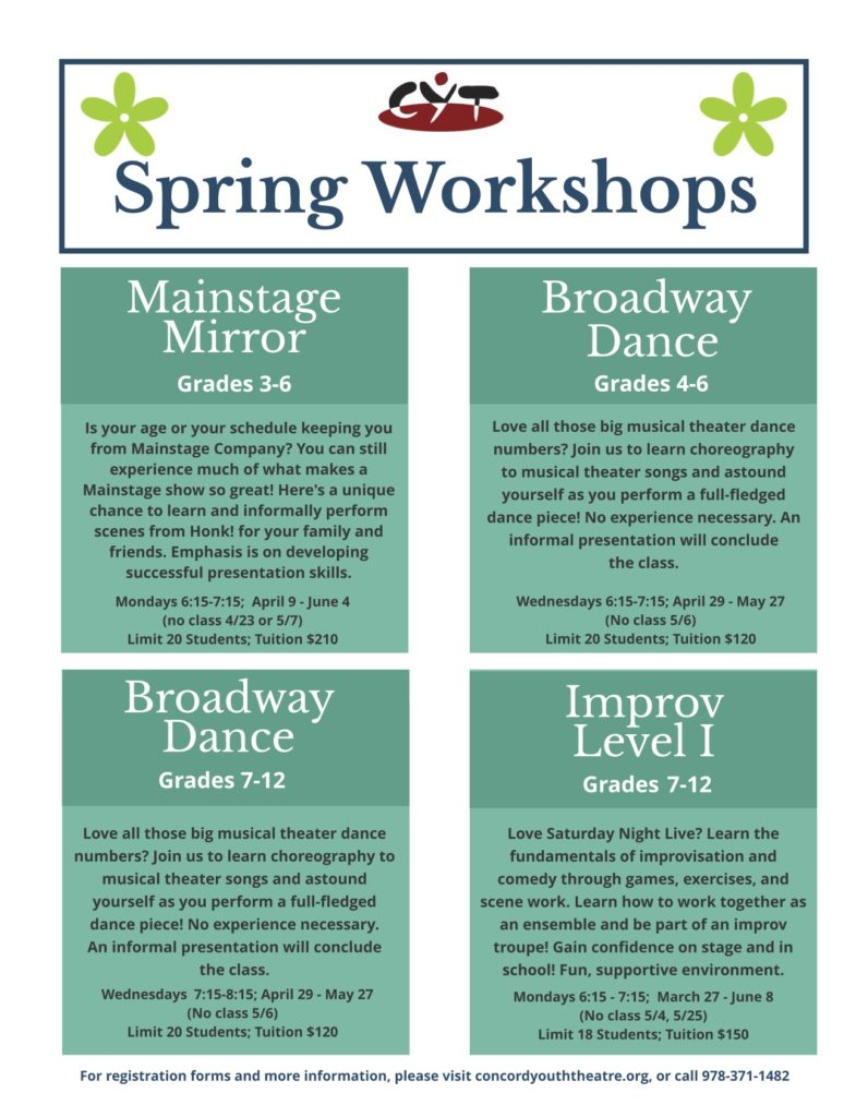Announcing CYT's Spring 2020 Classes and Workshops!